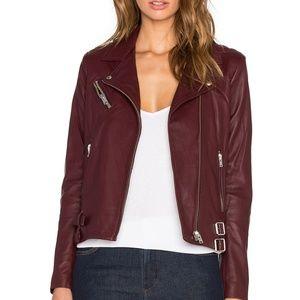 Iro Han Leather Wine Bugundy Moto Jacket